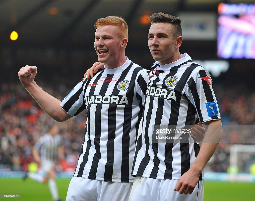 Conner Newton and Paul Dummet of St Mirren celebrate winning the Scottish Communities League Cup Final between St Mirren and Hearts at Hampden Park on March 17, 2013 in Glasgow, Scotland.