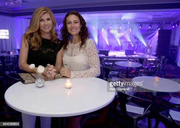 Connie Britton and Laura Benanti attend Starwood Preferred Guest's Hear The Music See The World featuring Kellie Pickler at Four Points By Sheraton...