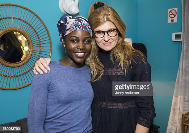 Connie Britton and Lupita Nyong'o backstage at Broadway's 'Eclipsed' at Golden Theatre on May 17 2016 in New York City