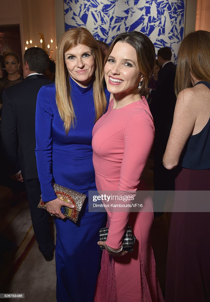 Connie Britton and Sophia Bush attend the Bloomberg & Vanity Fair cocktail reception following the 2015 WHCA Dinner at the residence of the French Ambassador on April 30, 2016 in Washington, DC.