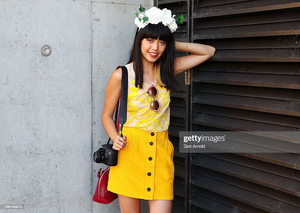 Connie Cao wears a Natasha Gan top and Vanishing Elephant skirt at Mercedes-Benz Fashion Week Australia Spring/Summer 2013/14 at Carriageworks on April 10, 2013 in Sydney, Australia.