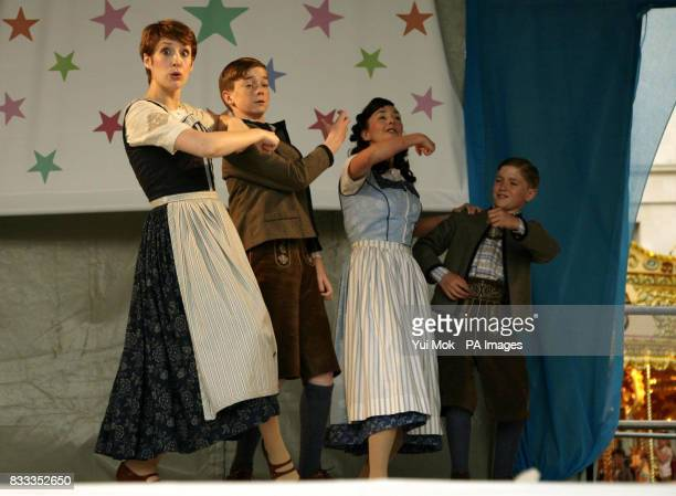 Connie Fisher as Maria Von Trapp and the cast from The Sound of Music on stage at the annual Kids Week in the West End which is celebrating London's...