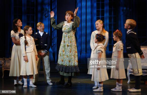 Connie Fisher who plays Maria with the Von Trapp children during a photocall for Andrew Lloyd Webber's new musical The Sound Of Music at the London...