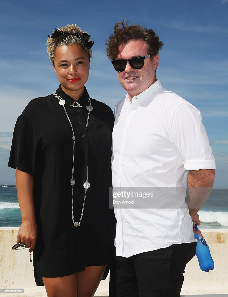 Connie Mitchell and Angus McDonald arrive at Ten Pieces show at MercedesBenz Fashion Week Australia 2015 at Bondi Icebergs on April 16 2015 in Sydney...