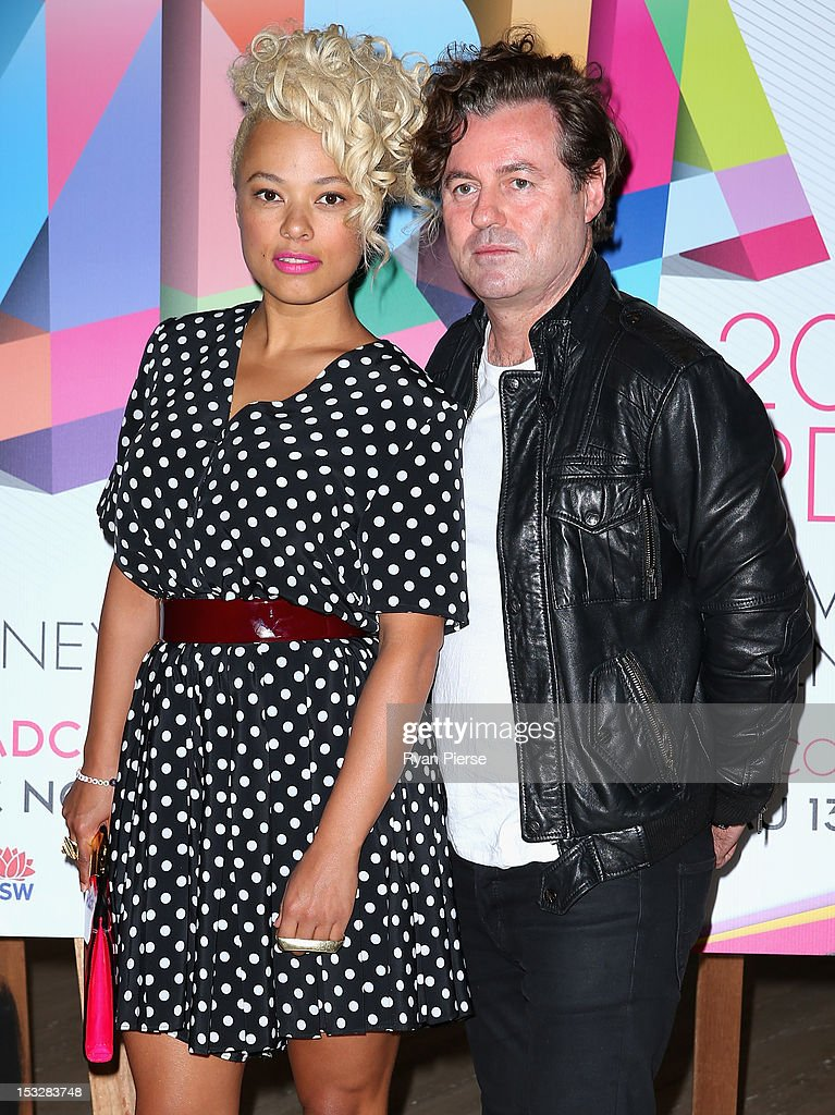 Connie Mitchell and Angus McDonald of Sneaky Sound System arrive at the 2012 ARIA Awards nomination event at the Art Gallery Of NSW on October 3 2012...
