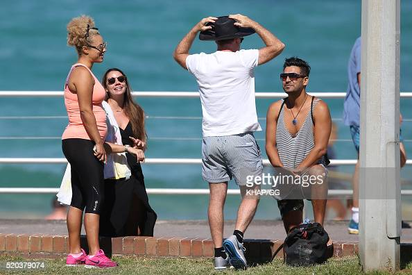 Connie Mitchell and husband Angus McDonald are seen working out at Bondi Beach on April 11 2016 in Sydney Australia