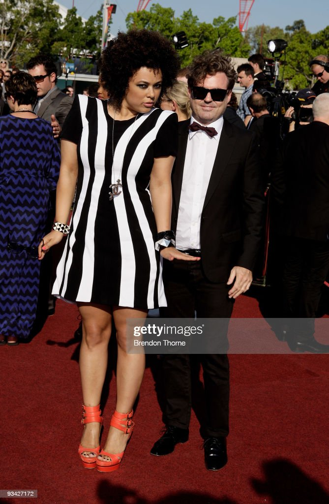 Connie Mitchell and Shaun Sibbes of Sneaky Sound System arrive on the red carpet at the 2009 ARIA Awards at Acer Arena on November 26 2009 in Sydney...
