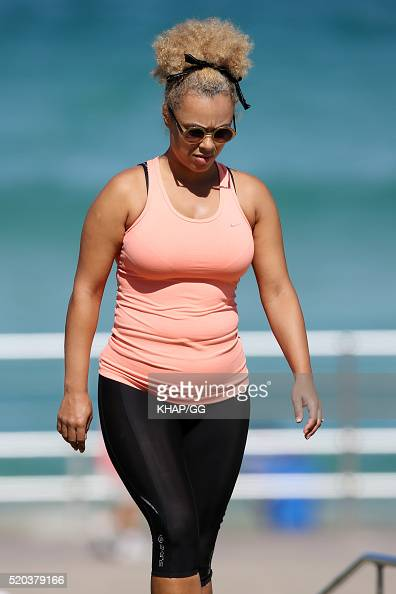 Connie Mitchell is seen working out at Bondi Beach on April 11 2016 in Sydney Australia