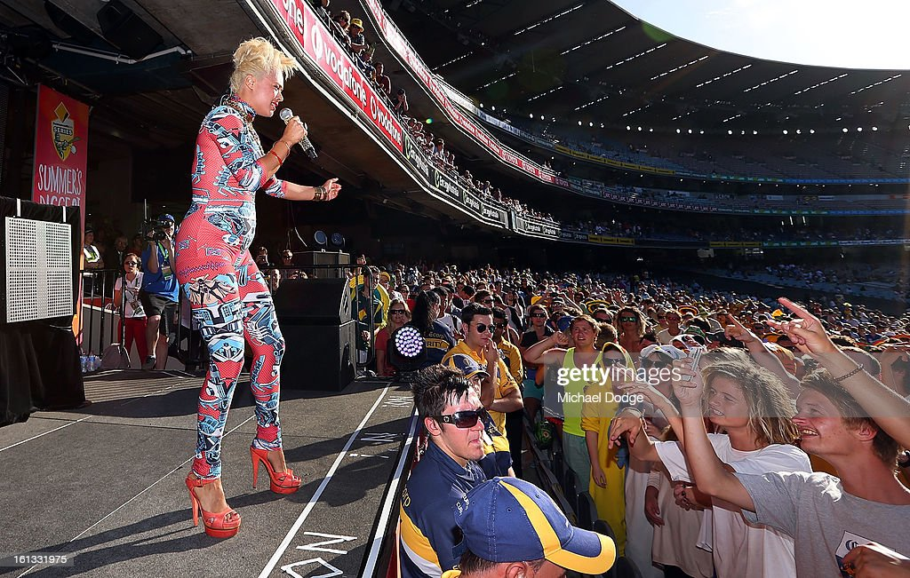 Connie Mitchell of Sneaky Sound Machine performs during game five of the Commonwealth Bank International Series between Australia and the West Indies at Melbourne Cricket Ground on February 10, 2013 in Melbourne, Australia.
