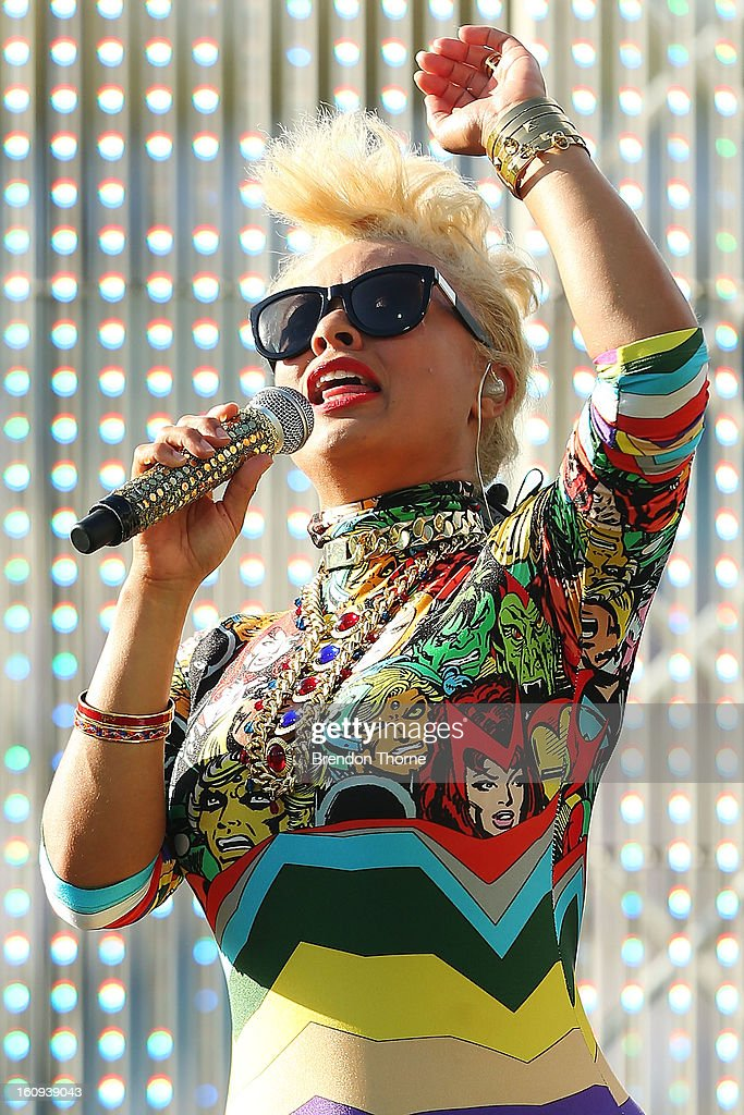Connie Mitchell of Sneaky Sound System performs during the innings break at game four of the Commonwealth Bank One Day International Series between...