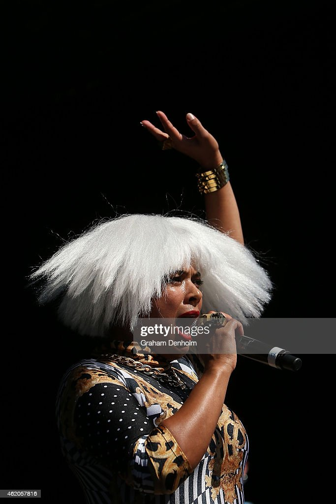 Connie Mitchell of Sneaky Sound System performs on the Heineken Live Stage during the 2015 Australian Open at Melbourne Park on January 24 2015 in...