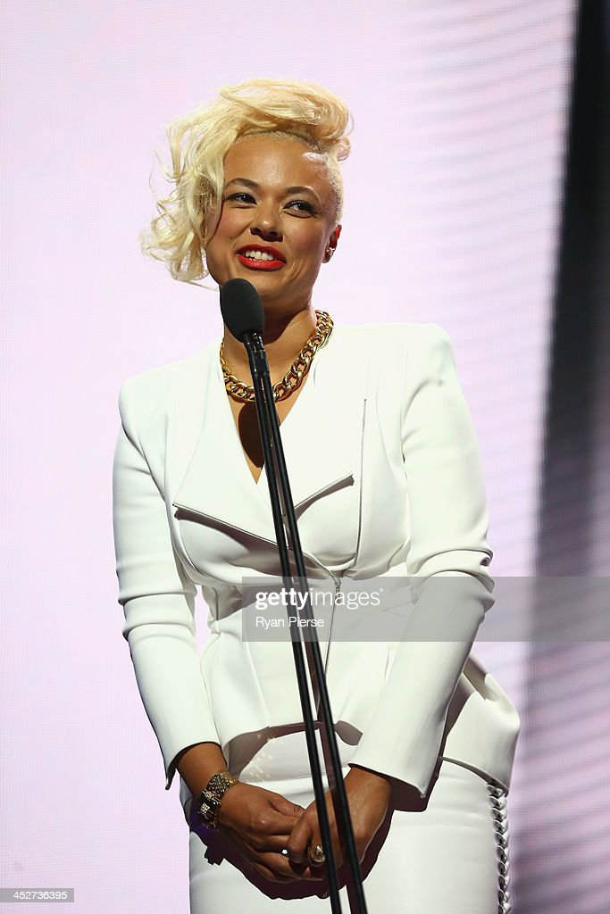 Connie Mitchell presents during the 27th Annual ARIA Awards 2013 at the Star on December 1 2013 in Sydney Australia