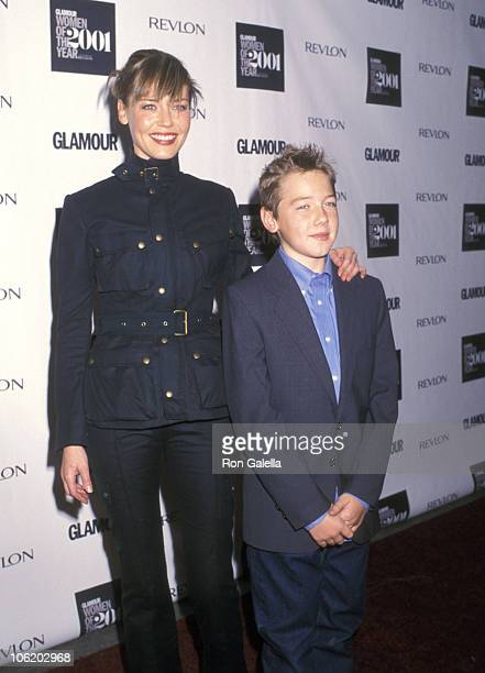 Connie Nielsen and son Sebastian during 2001 Glamour Magazine's Women of the Year Awards at Metropolitan Museum of Art in New York City New York...