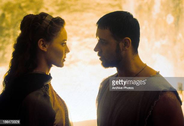 Connie Nielsen looking into the eyes of Russell Crowe in a scene from the film 'Gladiator' 2000
