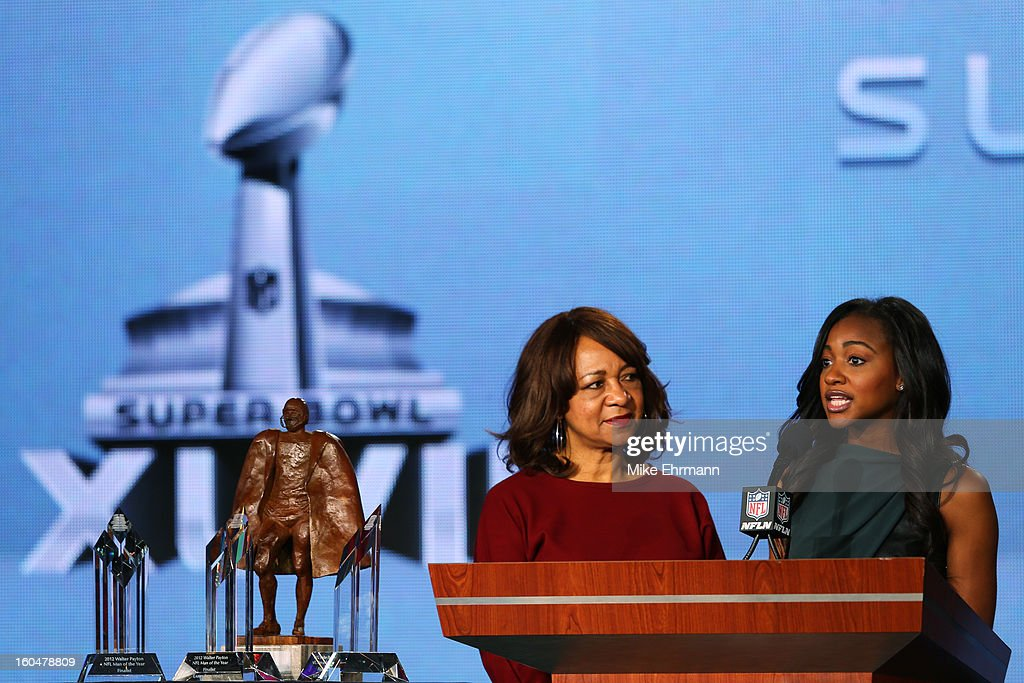 Connie Payton (L), wife of former Chicago Bears great Walter Payton, and her daughter Brittney present the finalists for the Walter Payton Man of the Year award during a press conference for Super Bowl XLVII at the Ernest N. Morial Convention Center on February 1, 2013 in New Orleans, Louisiana. The finalists are Larry Fitzgerald of the Arizona Cardinals, Joe Thomas of the Cleveland Browns and Jason Witten of the Dallas Cowboys.