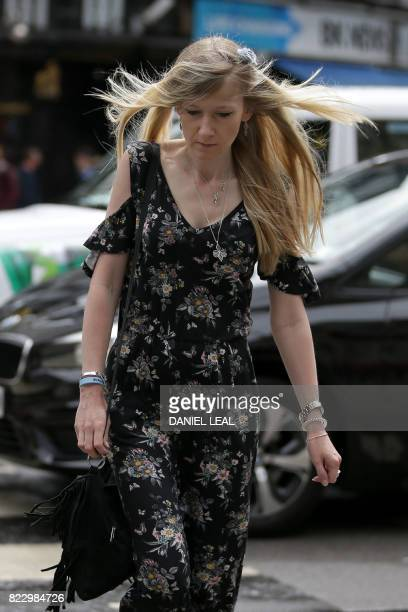 Connie Yates mother of terminallyill 11monthold Charlie Gard arrives at the Royal Courts of Justice in London on July 26 where a High Court judge is...