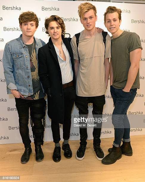 Connor Ball Bradley Simpson James McVey and Tristan Evans from The Vamps attend the relaunch of the Bershka store Oxford Street on March 17 2016 in...