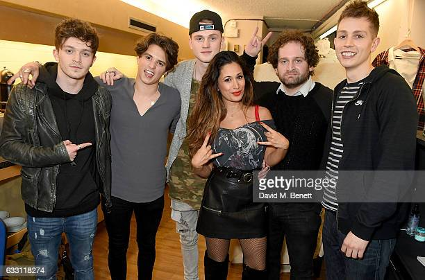 Connor Ball Bradley Simpson Tristan Evans and James McVey of The Vamps backstage with Preeya Kalidas and Joel Montague at the West End production of...