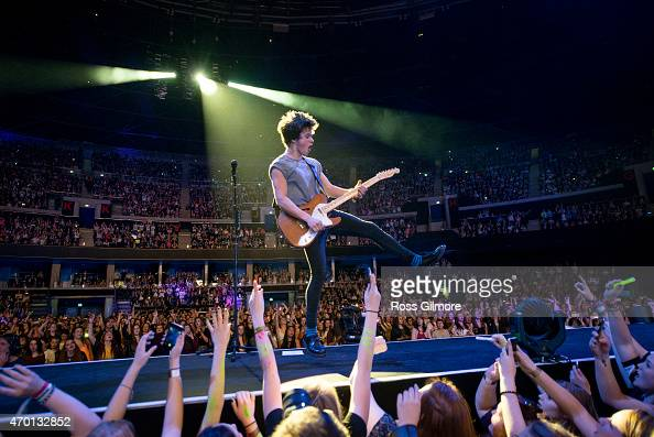 Connor Ball of The Vamps performs on stage at The SSE Hydro on April 17 2015 in Glasgow United Kingdom