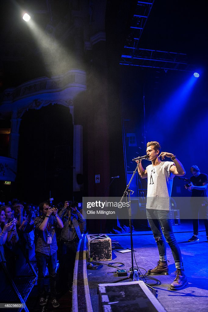 Connor Ball of The Vamps performs on stage during the 'The Last Night' single launch party, the band's first UK headline show, at at Shepherds Bush Empire on April 7, 2014 in London, United Kingdom.