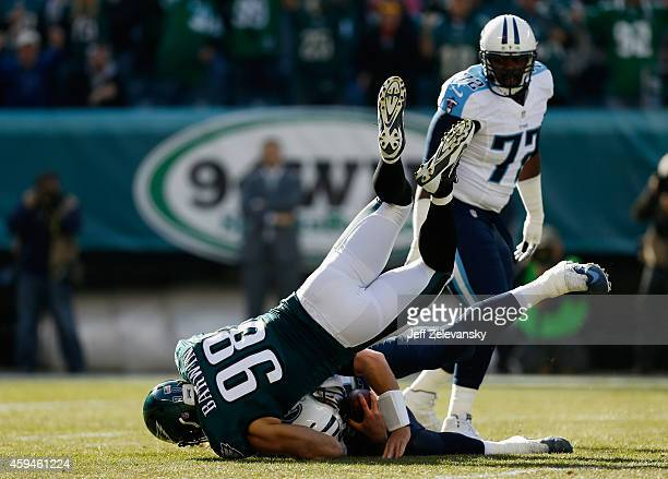 Connor Barwin of the Philadelphia Eagles sacks the quarterback Zach Mettenberger of the Tennessee Titans in the first quarter of the game at Lincoln...