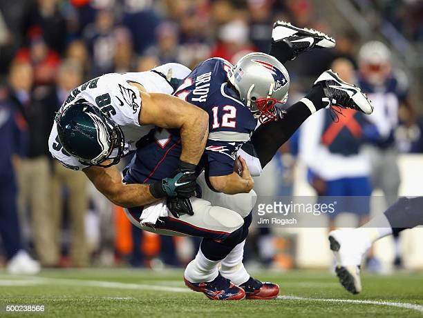 Connor Barwin of the Philadelphia Eagles sacks Tom Brady of the New England Patriots during the first quarter at Gillette Stadium on December 6 2015...