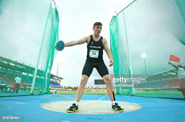 Connor Bell of the New Zealand competes in the Boys Discus Throw Final during the Athletics on day 3 of the 2017 Youth Commonwealth Games at Thomas A...