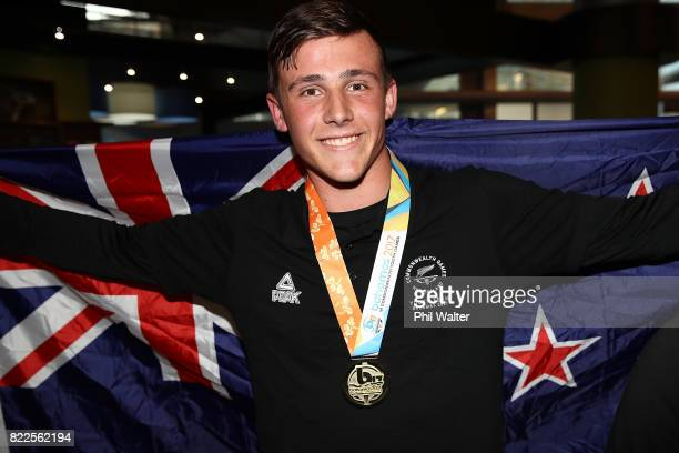 Connor Bell of the New Zealand Youth Commonwealth Games team arrives back from the Bahamas Youth Commonwealth Games at the Auckland International...