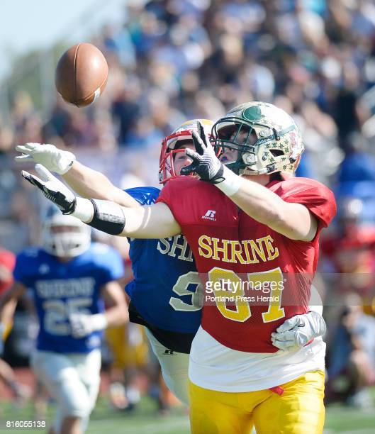Connor Bickford of Oxford Hills reaches for a pass as Finn Zechman of South Portland tries to break up the play Saturday July 15 2017