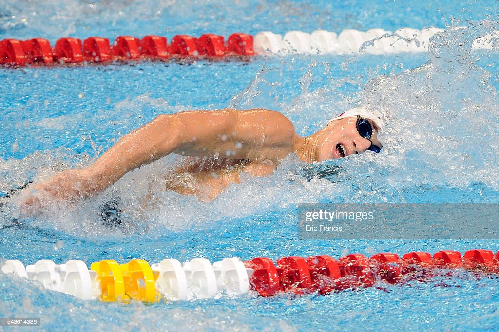Connor Black competes in a preliminary heat of the Men's 100 meter freestyle during Day 4 of the 2016 U.S. Olympic Team Swimming Trials at CenturyLink Center on June 29, 2016 in Omaha, Nebraska.
