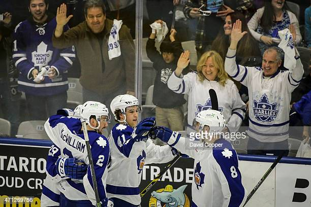 TORONTO ON APRIL 26 Connor Brown celebrates his empty net goal with team mates to ice the game for the Marlies late in the third period of the second...