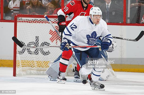 Connor Brown of the Toronto Maple Leafs skates against the Ottawa Senators at Canadian Tire Centre during the season opener on October 12 2016 in...
