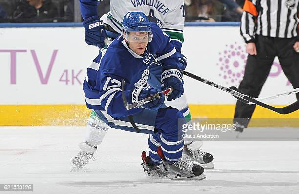 Connor Brown of the Toronto Maple Leafs skates against the Vancouver Canucks during an NHL game at the Air Canada Centre on November 5 2016 in...