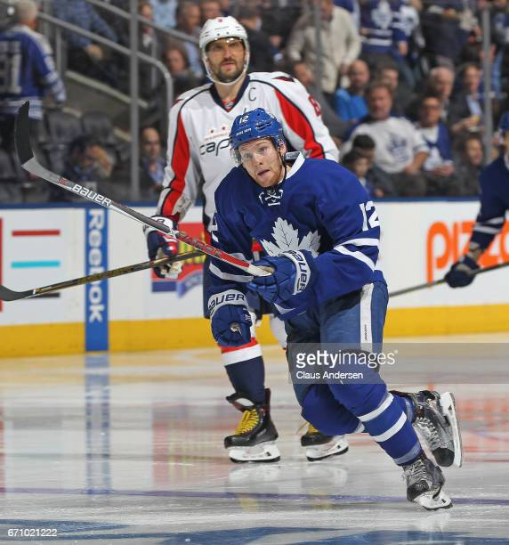 Connor Brown of the Toronto Maple Leafs skates against the Washington Capitals in Game Four of the Eastern Conference Quarterfinals during the 2017...