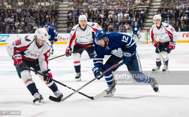 Connor Brown of the Toronto Maple Leafs skates against the Washington Capitals during the third period in Game Four of the Eastern Conference First...