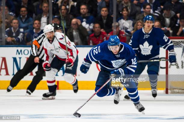 Connor Brown of the Toronto Maple Leafs skates against the Washington Capitals during the third period in Game Six of the Eastern Conference First...