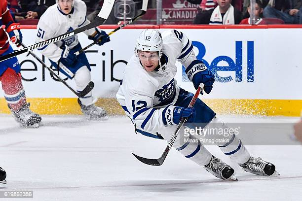 Connor Brown of the Toronto Maple Leafs skates during the NHL game against the Montreal Canadiens at the Bell Centre on October 29 2016 in Montreal...