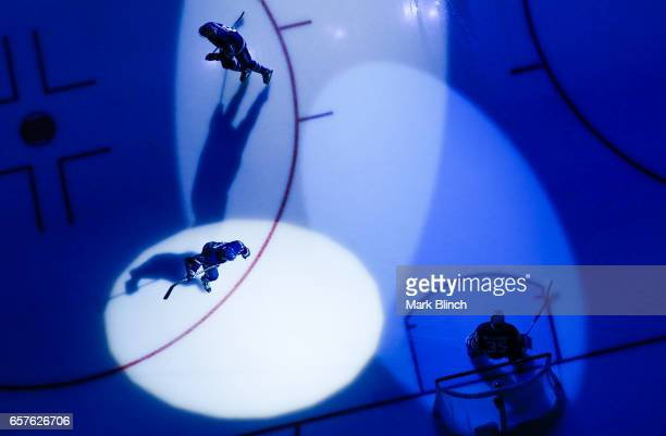 Connor Brown of the Toronto Maple Leafs skates in the spotlight prior to the game against the New Jersey Devils at the Air Canada Centre on March 23...