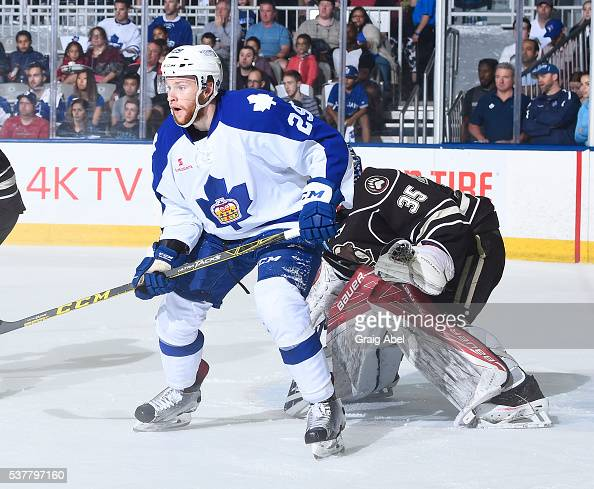 Connor Brown of the Toronto Marlies puts a screen on Justin Peters of the Hershey Bears during AHL Eastern Conference Final playoff game action on...