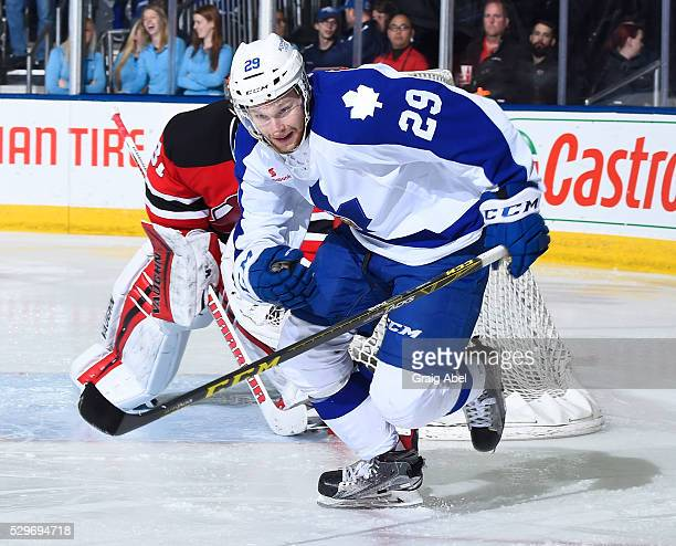 Connor Brown of the Toronto Marlies skates up ice against the Albany Devils during AHL playoff game action May 6 2016 at Ricoh Coliseum in Toronto...