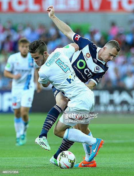 Connor Chapman of City and Besart Berisha of the Victory contest for the ball during the round 12 ALeague match between Melbourne City FC and...