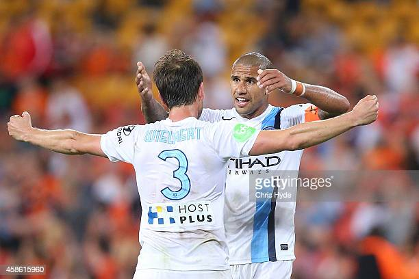 Connor Chapman Patrick Kisnorbo of Melbourne City celebrate winning the round five ALeague match between the Brisbane Roar and Melbourne City at...