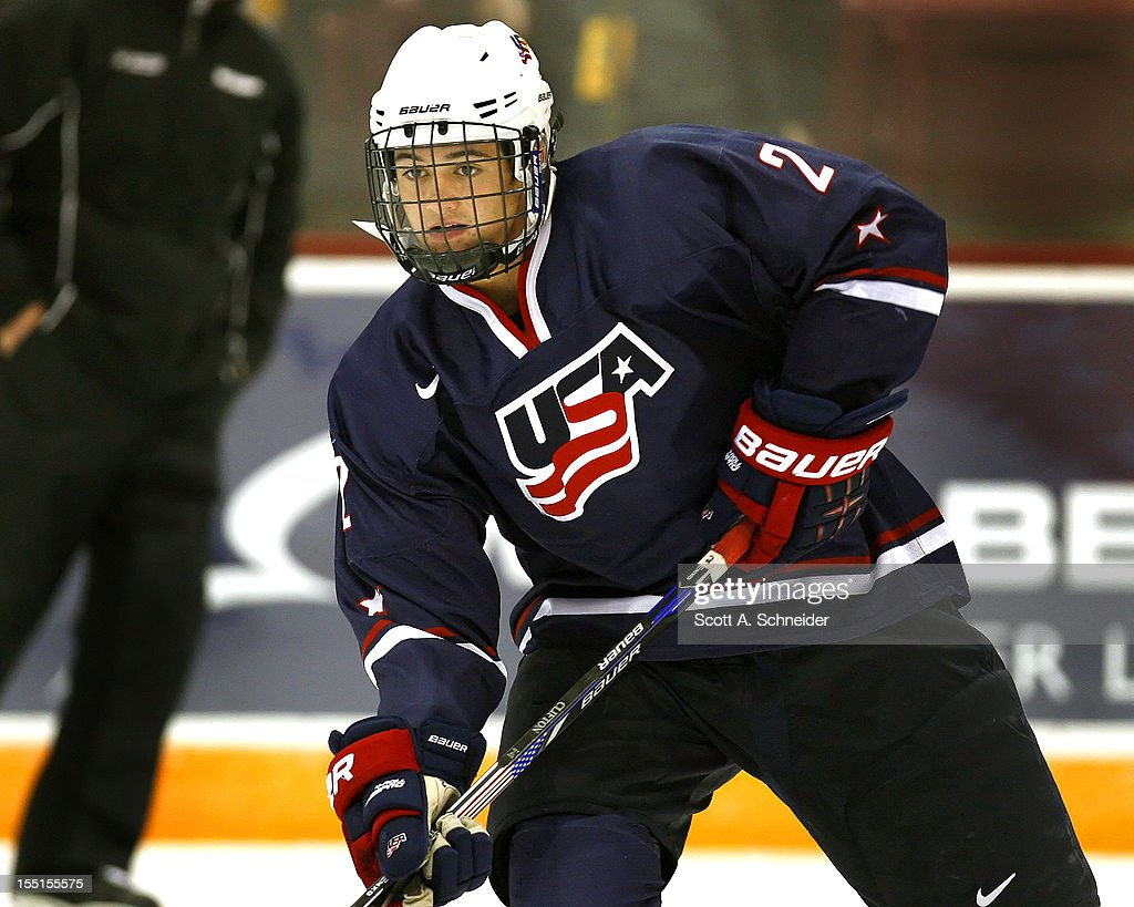 Connor Clifton #2 of the United States U-18 team warms up before a game with the University of Minnesota October 26, 2012 at Mariucci Arena in Minneapolis, Minnesota.