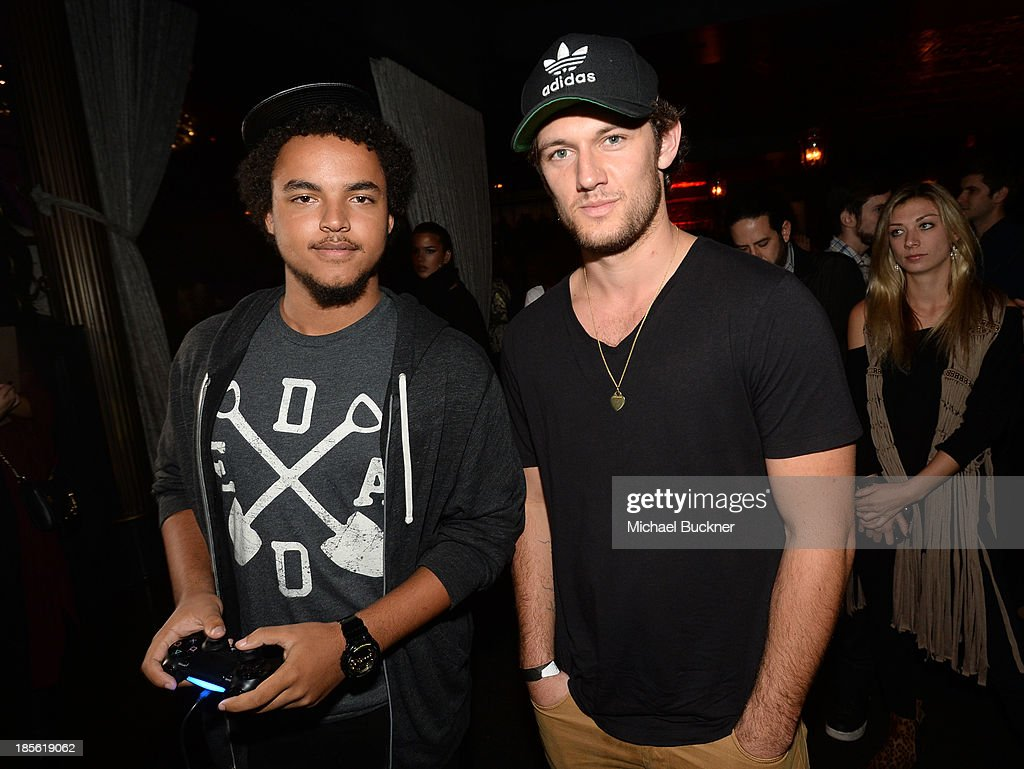 Connor Cruise and actor Alex Pettyfer attend the Assasin's Creed IV Black Flag Launch Party at Greystone Manor Supperclub on October 22, 2013 in West Hollywood, California.
