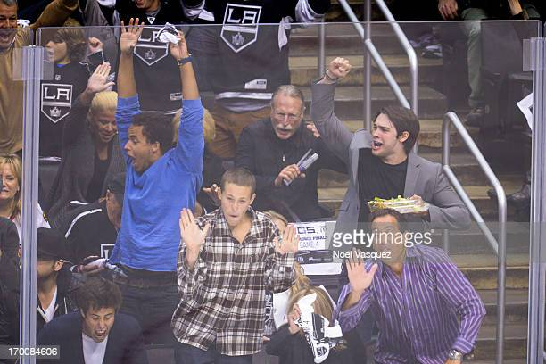 Connor Cruise and Steven R McQueen attend an NHL playoff game between the Chicago Blackhawks and the Los Angeles Kings at Staples Center on June 6...