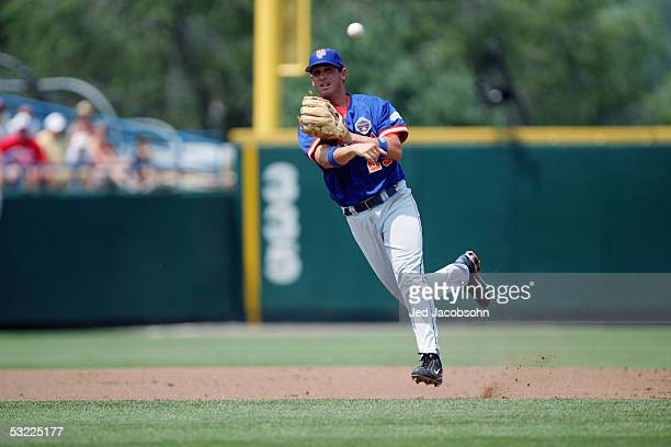 Connor Falkenbach of the Florida Gators fields the ball during Game 2 of the 59th College World Series with the Texas Longhorns at Rosenblatt Stadium...