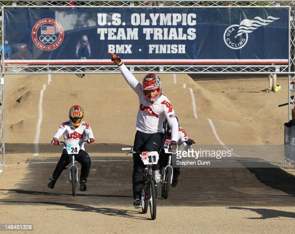 Connor Fields celebrates after winning the Main Event ahead of Corben Sharrah durng the US Olympic Trials for BMX at the US Olympic Training Center...