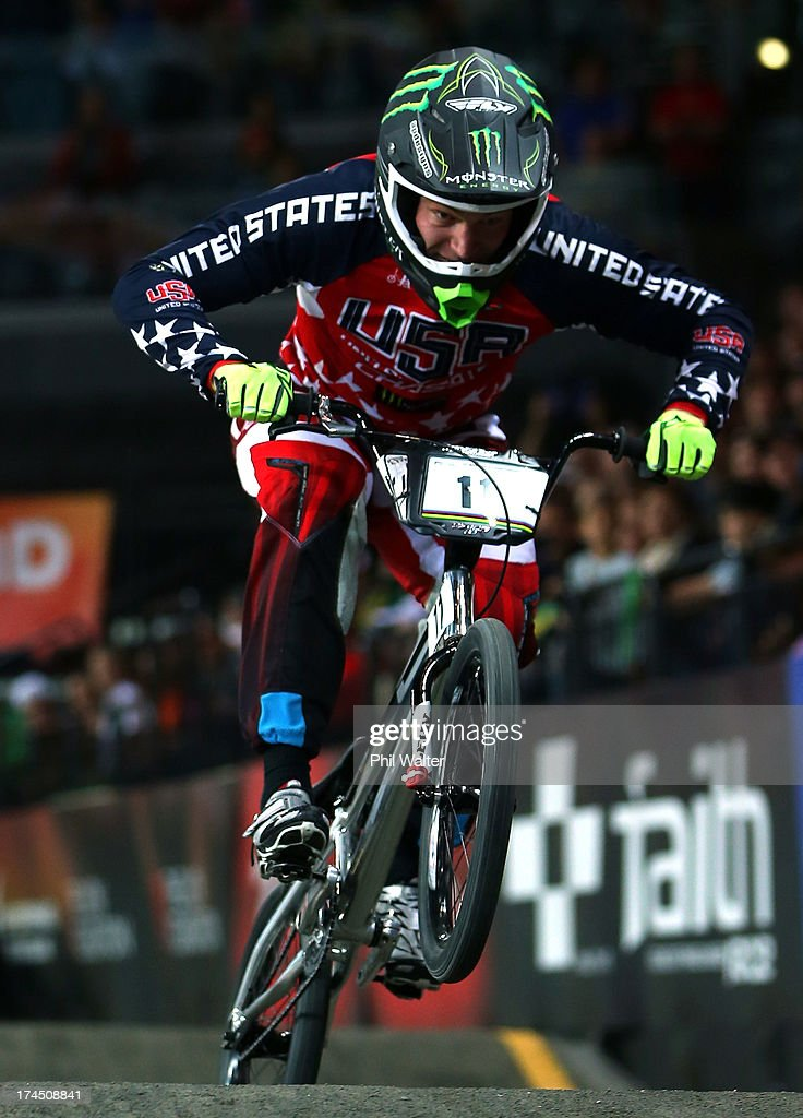 Connor Fields of the USA competes in the Elite Mens time trial during day four of the UCI BMX World Championships at Vector Arena on July 27, 2013 in Auckland, New Zealand.
