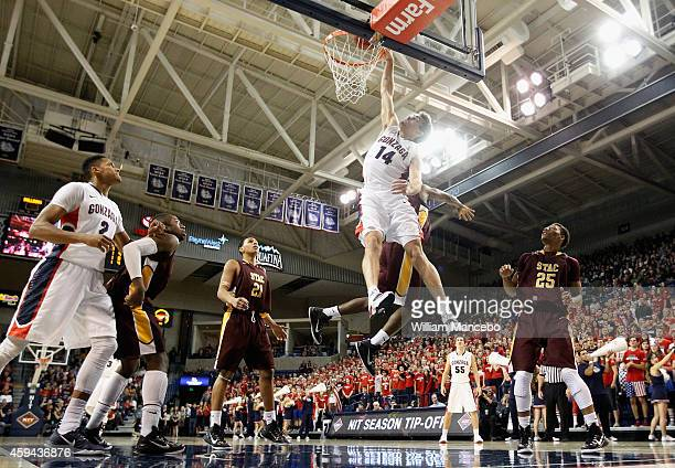 Connor Griffin of the Gonzaga Bulldogs attempts to dunk against the St Thomas Aquinas Spartans in the second half at McCarthey Athletic Center on...