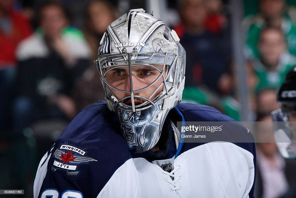 <a gi-track='captionPersonalityLinkClicked' href=/galleries/search?phrase=Connor+Hellebuyck&family=editorial&specificpeople=10551764 ng-click='$event.stopPropagation()'>Connor Hellebuyck</a> #30 of the Winnipeg Jets tends goal against the Dallas Stars at the American Airlines Center on January 7, 2016 in Dallas, Texas.